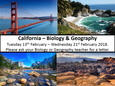 Biology & Geography Trip to California - 13th to 21st February 2018
